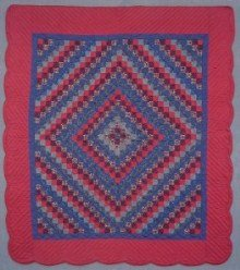 Custom Amish Quilts - Trip Around the World Patchwork Navy Blue Red
