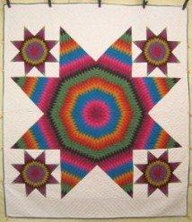 Custom Amish Quilts - Brilliant Southwestern LoneStar Patchwork