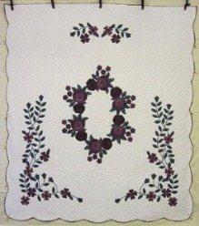 Custom Amish Quilts - Wreath Roses Purple Green Applique