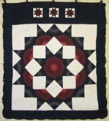 Custom Amish Quilts - Split Star Navy Burgundy Patchwork