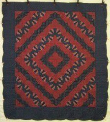 Custom Amish Quilts - Fan Log Cabin Navy Red Patchwork
