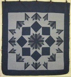 Custom Amish Quilts - Radiating Starburst Blue White Patchwork