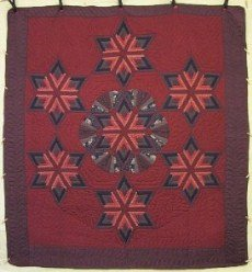 Custom Amish Quilts - Log Cabin Fan Stars Around Burgundy