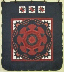 Custom Amish Quilts - Flower Starburst Red Navy Patchwork