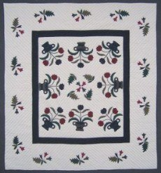 Custom Amish Quilts - Flower Basket Applique Navy Burgundy