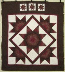 Custom Amish Quilts - Framed Lone Star in Star Brown Burgundy Patchwork