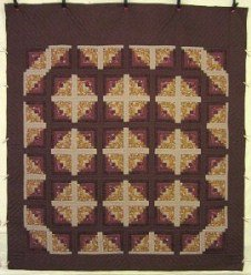 Custom Amish Quilts - Earth Log Cabin Patchwork