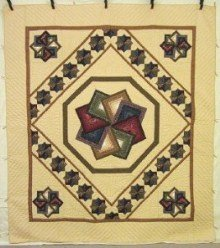 Custom Amish Quilts - Spinning Star Patchwork Tan Green Blue Red