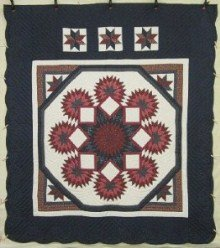 Custom Amish Quilts - Star in Starburst Navy Red Patchwork