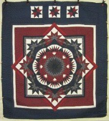 Custom Amish Quilts - Radiating Star Burst Red Merlot Navy Patchwork