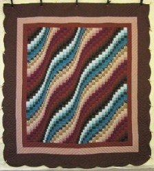 Custom Amish Quilts - Bargello Wave Patchwork Brown Burgundy Blue