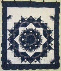 Custom Amish Quilts - Starburst Pulsating Navy Patchwork