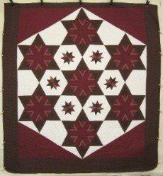 Custom Amish Quilts - Fan Star Galaxy Brown Merlot Patchwork