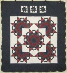 Custom Amish Quilts - Starburst in Starburst Patchwork Navy Burgundy