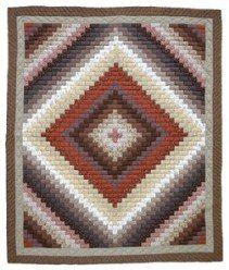 Custom Amish Quilts - Trip Around World Brown Terracotta Patchwork