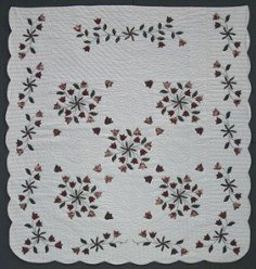 Custom Amish Quilts - Windblown Tulip Bouquet Applique