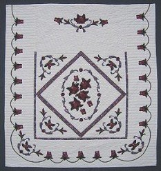 Custom Amish Quilts - Framed Rose Bouquet Applique Burgundy