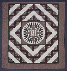Custom Amish Quilts - Mariners Compass Log Cabin Burgundy Patchwork