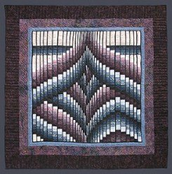 Custom Amish Quilts - Bargello King Burgundy Blue Patchwork Certified