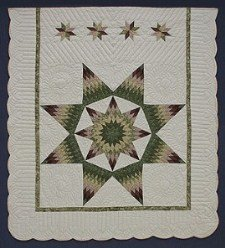 Custom Amish Quilts - Broken Lonestar Green Purple Patchwork