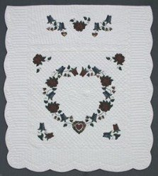 Custom Amish Quilts - Heart Roses Mary Grace Applique Certified Burgundy