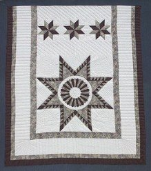Custom Amish Quilts - Framed Kentucky Star Patchwork Certified Burgundy Grey