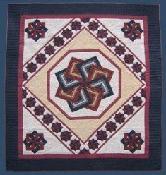 Custom Amish Quilts - Spinning Star Patchwork Burgundy Navy