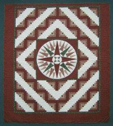 Custom Amish Quilts - Mariners Compass Log Cabin Red Brick Green