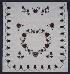Custom Amish Quilts - Heart Roses Border Burgundy Applique