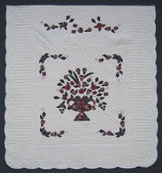 Custom Amish Quilts - Vase Flower Bouquet Applique Rose
