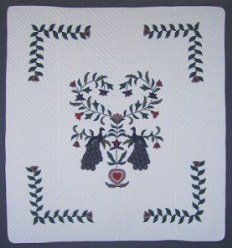 Custom Amish Quilts - Peacock Dutch Tree Applique Green Navy