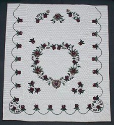 Custom Amish Quilts - Heart Roses Applique Border Burgundy Green