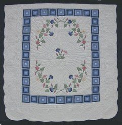 Custom Amish Quilts - Morning Glory Log Cabin Applique Blue