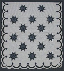 Custom Amish Quilts - Eight Point Stars Border Patchwork Blue