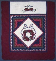 Custom Amish Quilts - Trip Around Rose Wreath Patchwork Applique Navy Burgundy