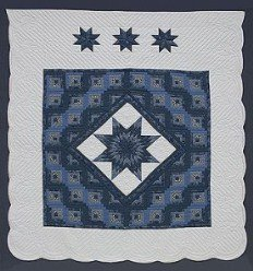 Custom Amish Quilts - Evening Lone Star in Log Cabin Blue Patchwork