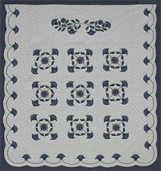 Custom Amish Quilts - Windy Tulip Applique Blue