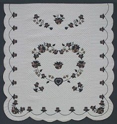 Custom Amish Quilts - Heart Roses Applique Border Blue