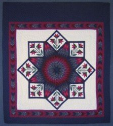 Custom Amish Quilts - PA Dutch Tulips Lone Star Burgundy Navy