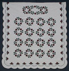 Custom Amish Quilts - Christmas Rose Wreath Applique Red Green