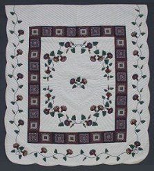 Custom Amish Quilts - Morning Glory Log Cabin Applique Border