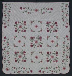 Custom Amish Quilts - Spring Flower Applique Red Rose Border