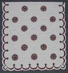 Custom Amish Quilts - Desert Rose Applique Burgundy
