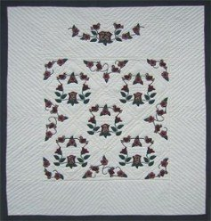 Custom Amish Quilts - Rose Vine Applique Burgundy Green