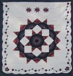 Custom Amish Quilts - Broken Lone Star Flower Applique Border