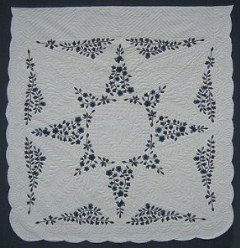 Custom Amish Quilts - Flower Star Applique Navy Blue