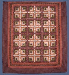 Custom Amish Quilts - Earth Log Cabin Patchwork Brown Tan