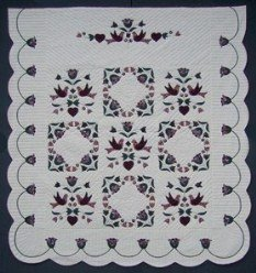 Custom Amish Quilts - Country Bride Flower Bird Applique Border Rose Burgundy
