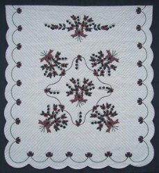 Custom Amish Quilts - Rose Sharon Lily Valley Bouquet Applique Burgundy Border