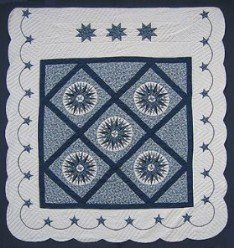 Custom Amish Quilts - Mini Compass Mariners Star Blue Patchwork